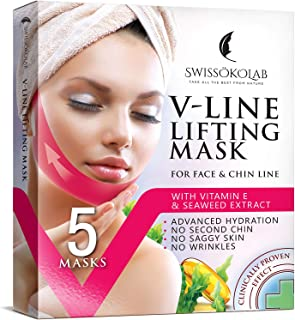 Best Double Chin Reducer V Line Lifting Mask Face Slimming Strap Chin Neck V Shaped Lift Tape Chin Up Patch V Up Contour Tightening Firming 5 pcs Review