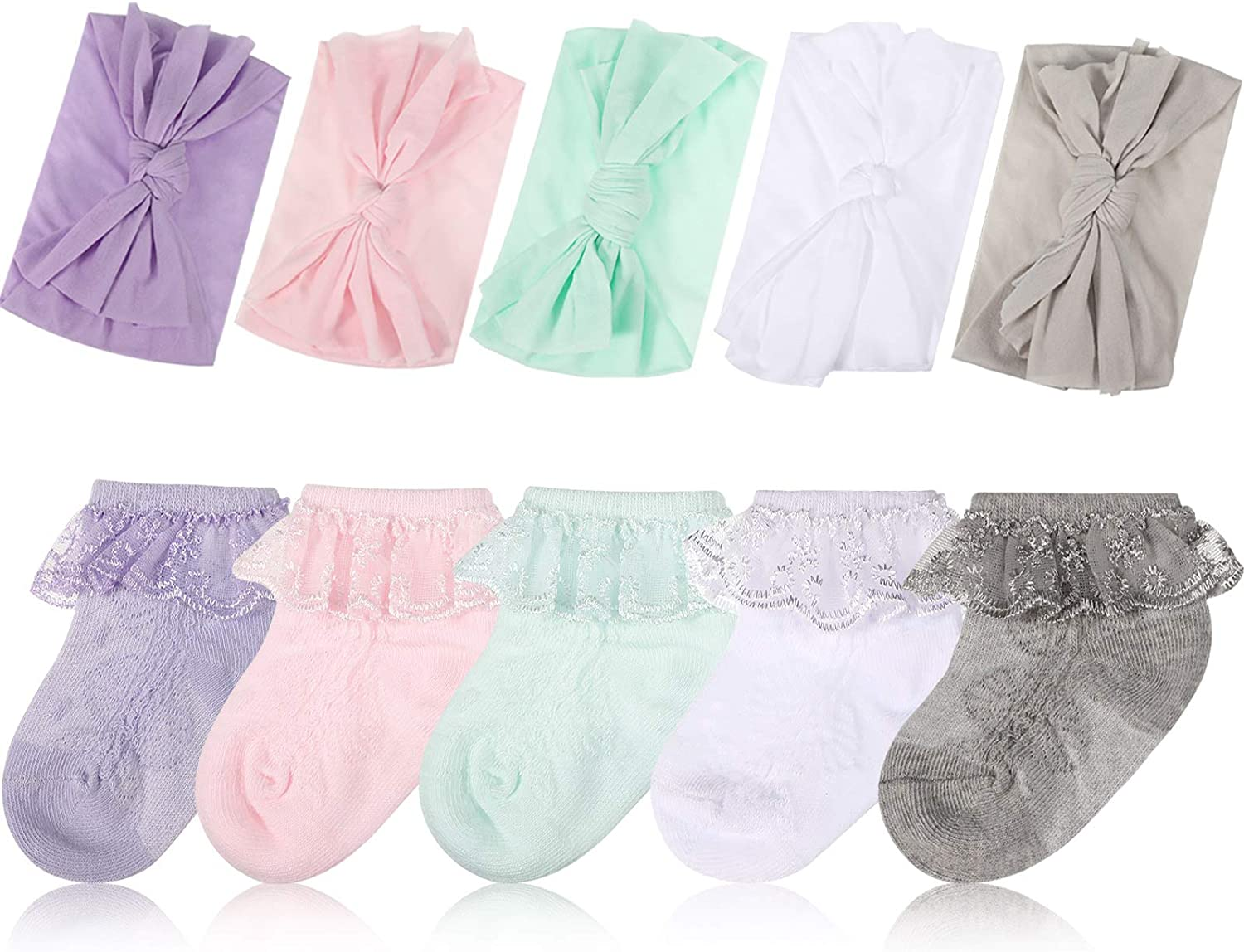 5 Pairs Baby Girls Eyelet Frilly Lace Ankle Socks with 5 Pieces Nylon Toddler Headbands for 3-12 Months, 5 Colors
