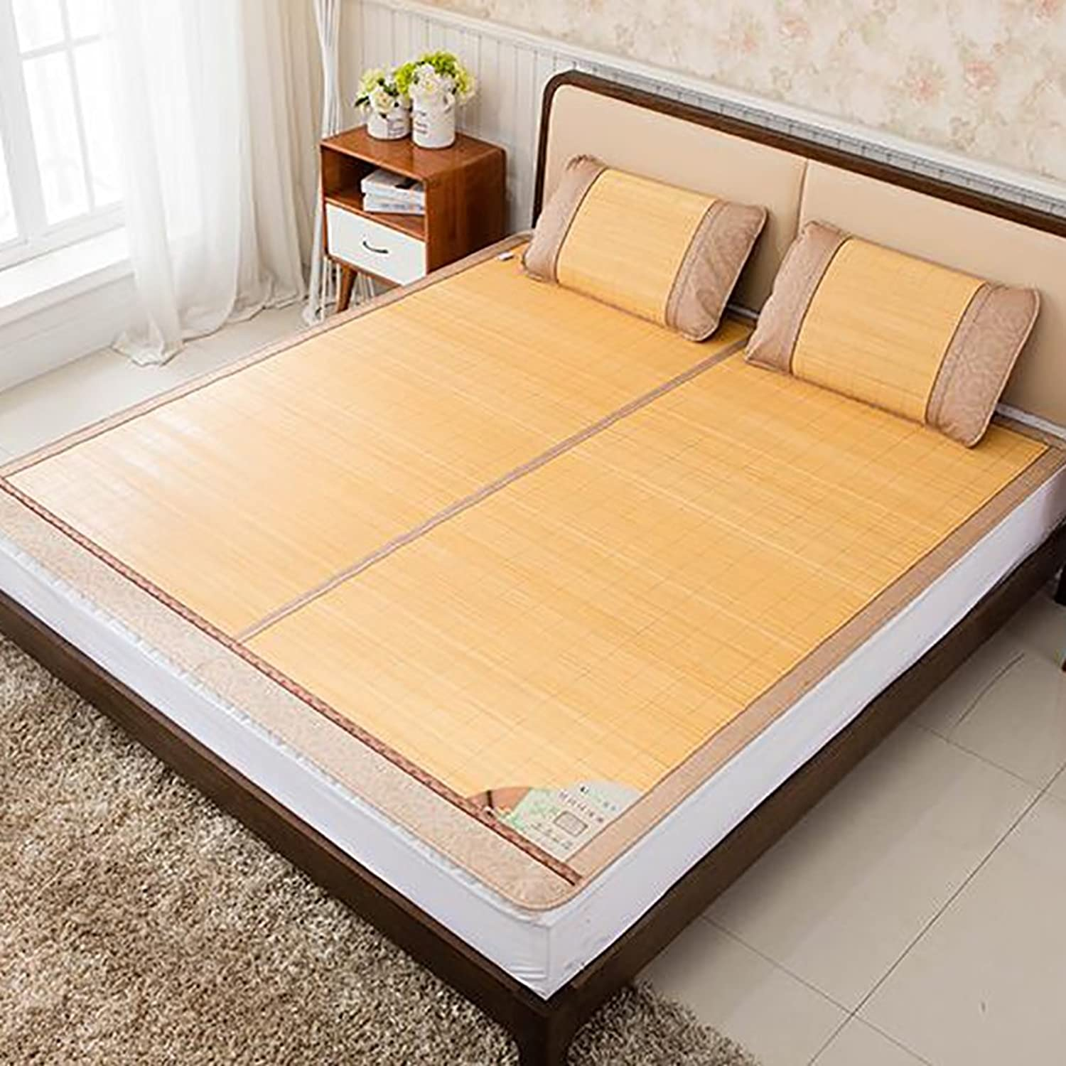 Old Bamboo mat,Skin-Friendly Breathable Single Double Summer mat Double-Sided ice Silk mat -A 80x190cm(31x75inch)
