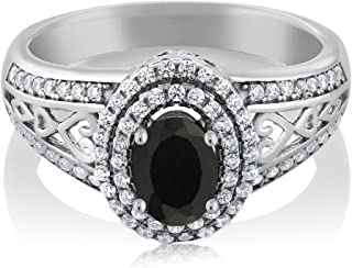 Gem Stone King 925 Sterling Silver Black Onyx Women's Ring 1.25 Cttw Oval Gemstone Birthstone Available 5,6,7,8,