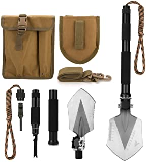 FiveJoy Military Folding Shovel Multitool (C1) - Portable Foldable Survival Tool - Entrenching Backpack Equipment for Hiki...
