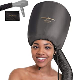 Bonnet Hood Hair Dryer Attachment by Granteva - Relax, Speeds Up Drying Time at Home, Easy to Use for Styling, Curling and Deep Conditioning - Soft, Adjustable, Fits to All Small or Big Heads, Rollers