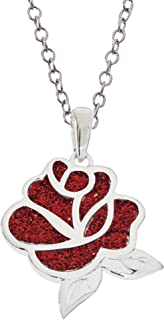 """Beauty and The Beast Jewelry for Women and Girls, Silver Plated Red Rose Pendant Necklace, 18"""" Chain"""