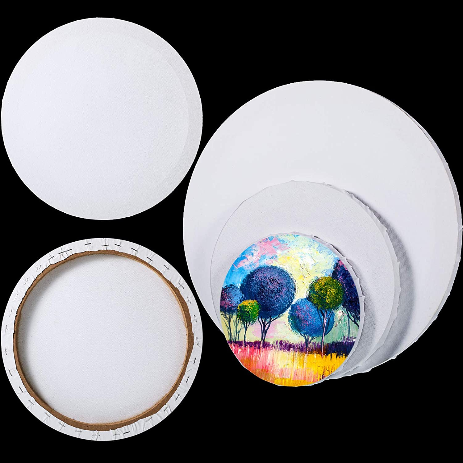 6 Pieces Limited time trial price Pre Stretched Canvas Boards Los Angeles Mall Painting C Round for