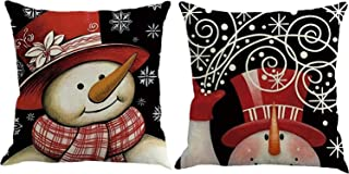 FOOZOUP Christmas Pillow Cover 18 x 18 Throw Pillowcase Christmas Snowman Home Decor Cushion Cover for Sofa Couch (Set of 2)
