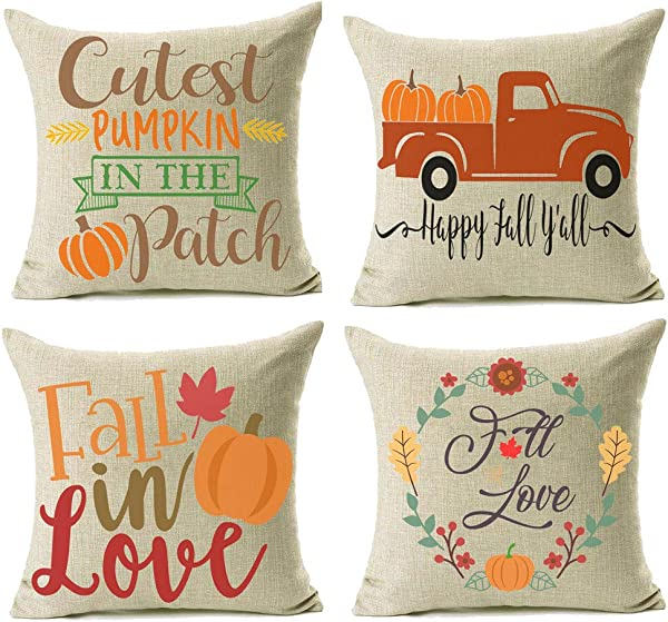 Jomo 18x18 Fall Decor Pillow Covers Farmhouse Autumn Pumpkin Throw Pillow Shams Decorative Thanksgiving Harvest Cover Cases Set Of 4 For Couch