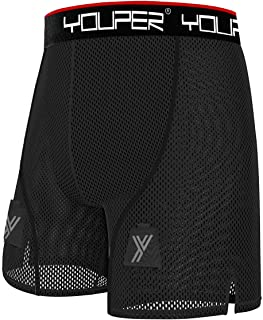 Youper Loose Hockey Shorts Supporter with Cup Pocket & Velcro, Youth & Adult Sizes