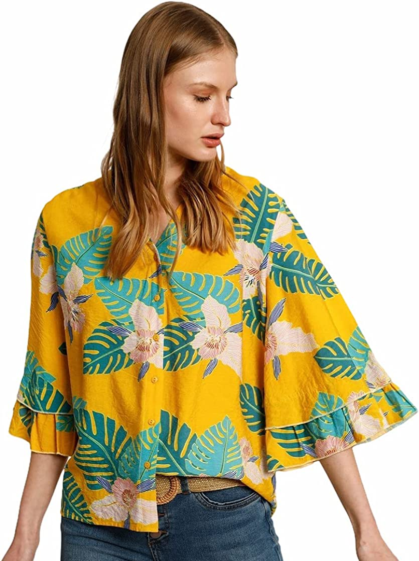 Tropical Charlotte Mall Bargain Shirt with Bell Sleeves