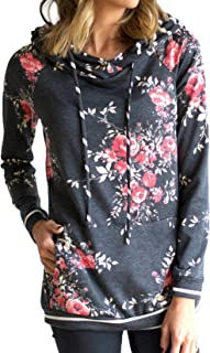 Minipeach Women's Pullover Long Sleeve Hoodies Coat Loose Casual Sweatshirts with Pocket