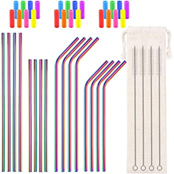 Metal Straws Reusable Stainless Steel Straws Bent Straight Colored Drinking Straws for 16 20 24 30 32oz Tumblers, with 24 Silicone Tips 4 Cleaner Brush 1 Pouch (Rainbow 8.5inch and 10.5inch)