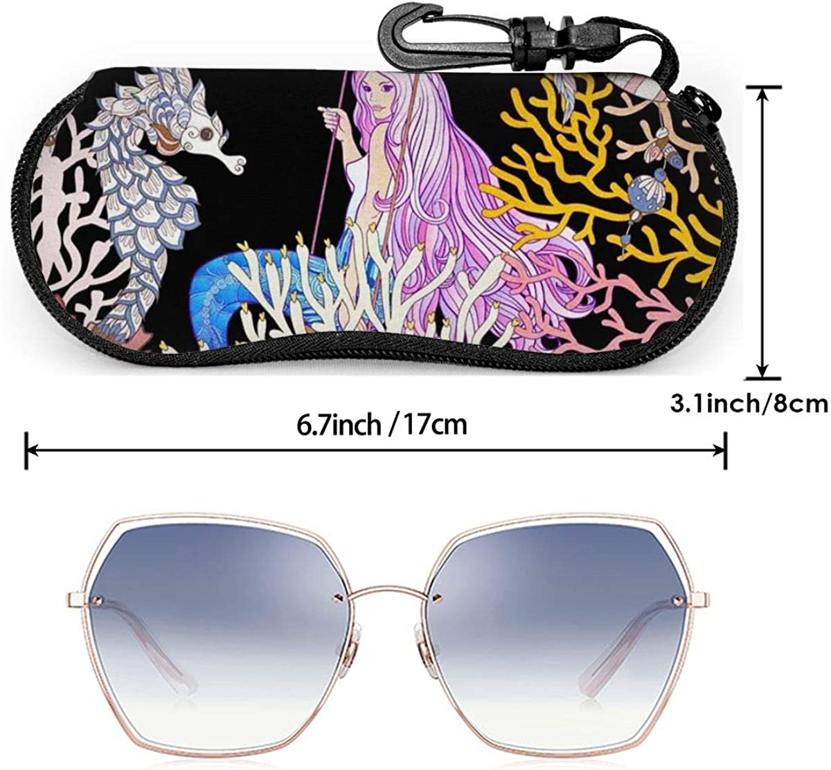 Cartoon Mermaid With Coral Sea Shell And Sea Horse Myth Painting Sunglasses Soft Case Ultra Light Neoprene Zipper Eyeglass Case With Key Chain