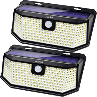 Aootek Solar lights outdoor 182 Leds 2500Lm Solar motion sensor lights IP65 Waterpro of with Wide Anglefor Patio Garden Ga...