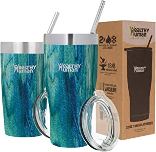 Healthy Human Insulated Stainless Steel Tumbler Travel Cruiser Cup with Straw and Lid 20 oz Bora Bora