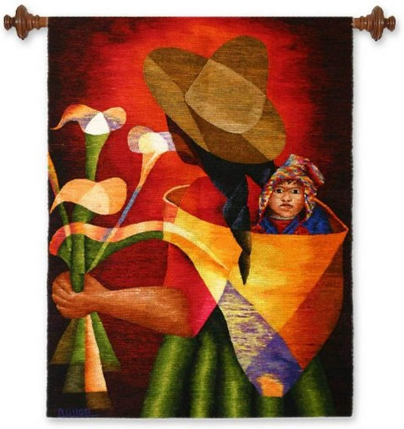 NEW before selling ☆ NOVICA Wool Decorative Tapestry Gift Flowers' Direct stock discount Multicolor of