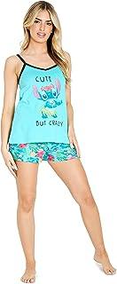 Disney Pijamas Mujer Verano Stitch, Conjunto 2 Piezas Camiseta Tirantes y Shorts de Algodón, Regalos para Mujer Tallas S, ...