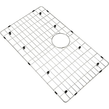 """LQS Kitchen Sink Grid and Stainless Steel Kitchen Sink Protector, Sink Bottom Grid for Kitchen Sink 27 5/8"""" x 15 11/16"""" with Rear Drain Hole for Single Sink Bowl, Big Sink Protector"""