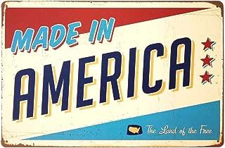 ERLOOD Made in America Retro Metal Vintage Tin Sign 12 x 8