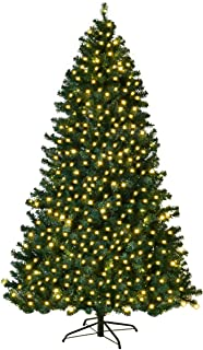 Goplus Pre-Lit PVC Artificial Christmas Tree Auto-Spread/Close up Premium Spruce Hinged w/LED Lights & Metal Stand, Green (7.5 FT)