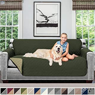 Sofa Shield Original Patent Pending Reversible Sofa Slipcover, 2 Inch Strap Hook, Seat Width Up to 70 Inch Furniture Protector, Couch Slip Cover Throw for Pets, Kids, Cats, Sofa, Hunter Green Sage