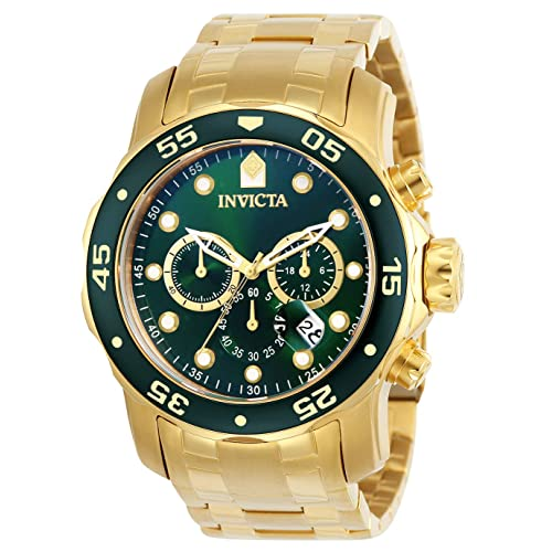 Invicta Mens 0075 Pro Diver Chronograph 18k Gold-Plated Watch