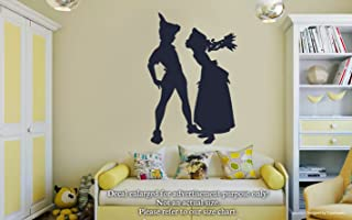 Peter Pan Wendy Tinker Bell Wall Decals Kiss Peter Pan And Wendy Stickers Decorative Design Ideas For Your Home or Office Walls Removable Vinyl Murals EC-0563