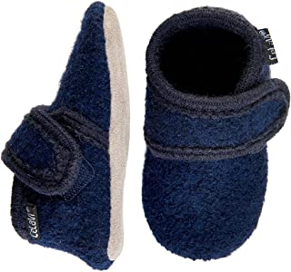 Eco Kids Wool-Soft Leather Sole Unisex Boy Girl Slippers Booties First Shoes -9 Colors- Baby-Toddler Dark Navy
