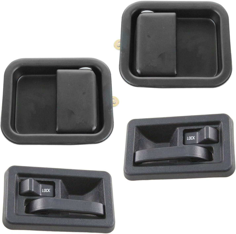 100%品質保証! Door Handle Black Inside Outside Kit Set of 激安格安割引情報満載 W Jeep for 97-04 4