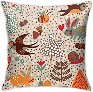 Osvbs Cute Birds Rabbits Bees Snail and Flowers in Retro Colors Pillowcase Customized Double Sided 18 × 18 Inch for Sofa Bed (only Pillowcase, No Pillow)