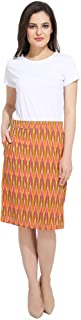 Mashiya Women's Cotton Orange Ikat skirt