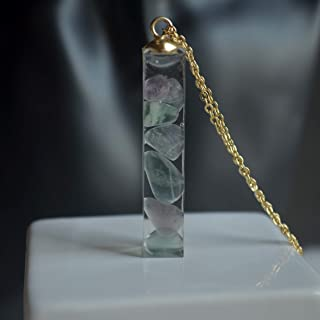 Fluorite Pietra naturale Trasparente Cubo Resina Pendente Catena Placcato Oro 18k Collane