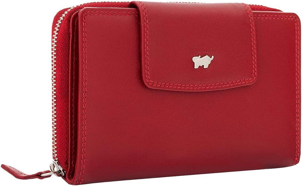 Braun bÜffel  golf 2.0, portafoglio, porta carte di credito, in vera pelle con 15 scomparti, per donna