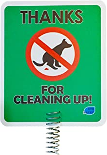 New & Improved - Dog Poop Sign Disposal | Thanks for Cleaning Up Signs Made with Metal Stake Dog Poop Signs for Yard, Stop Pets Pooping or Peeing The Lawn Yard (Thanks for Cleaning Up)