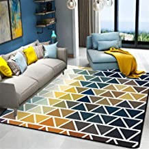 Sylbf Area Rug Shaggy Soft Indoor Modern Blue orange abstract triangle lattice for Dining Home Bedroom Floor Mat,160 * 230CM (Size : 140 * 200CM)