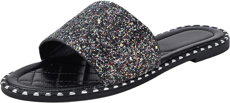 Womens Glitter Bling Fancy Slide Rhinestone Flat Low Wedge Sparkle Sandals Shoes