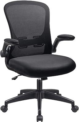 事務用椅子オフィスデスクミッドバックチェア、人間工學に基づいたメッシュの高さ調整可能な回転式タスクオフィスチェア、フリップアップアーム付き (黒)