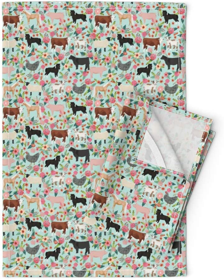 Austin Mall Roostery Tea Towels Sheep Blue Horse Pig Over item handling Sanctuary Farm Cattle
