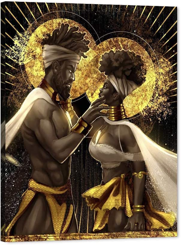 African American Canvas 本日限定 通信販売 Art Print Black Wal Queen King Love and