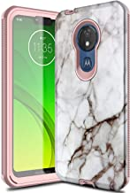 Leptech Case for Moto G7 Power, Marble Pattern Series Compatible with Motorola Moto G7 Supra Case, Moto G7 Optimo Maxx XT1955DL Case with Built in Screen Protector (Off-White)