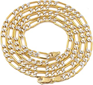 10K Yellow Gold 4mm Pave Two-Tone Figaro Hollow Chain Necklace with White Pave Diamond Cut, Lobster Lock (18