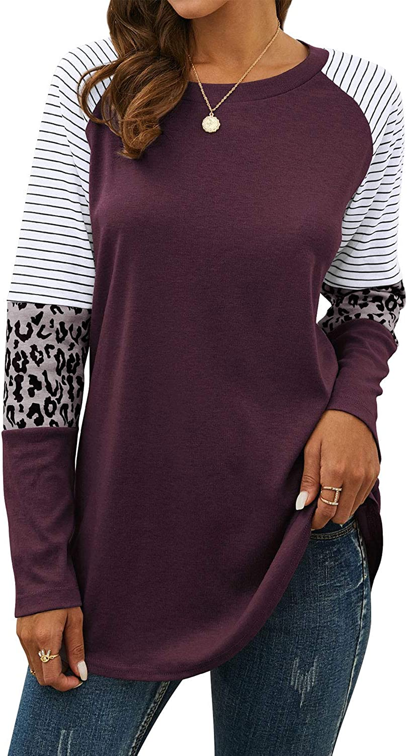 StarVnc Womens Casual T-Shirts Long Sleeve Leopard Color Block Patchwork Tunic Striped T Shirt Boutique Tops