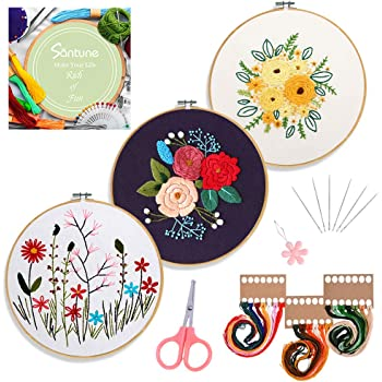 Santune 3 Sets Embroidery Starter Kit with Pattern and Instructions, Cross Stitch Set, Stamped Embroidery Kits with 3 Embroidery Clothes with Plants Flowers Pattern, 1 Embroidery Hoops