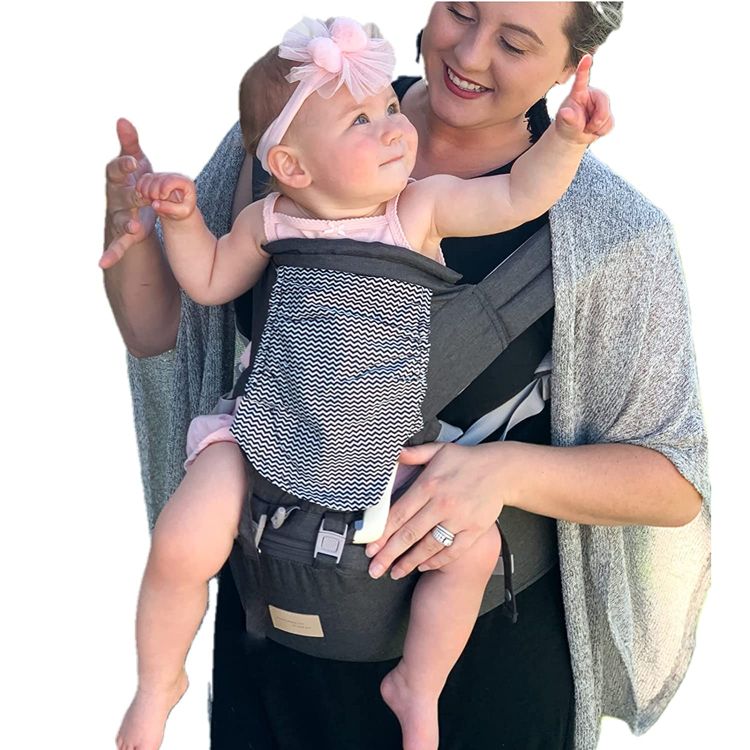 Baby Carrier Newborn to Toddler, GREJOUR Baby Carrier with Hip Seat for 4-36 Months Infant (8-33 lbs), Front and Back Carry for Hiking, Breathable Air Mesh Baby Kangaroo Carrier, Dark Grey