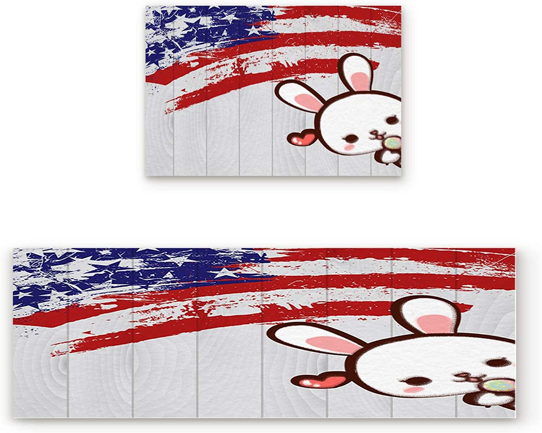 SODIKA Non Slip Kitchen Rug Set 2 Piece, Floor Mat Carpet Runner,Happy Easter Day Rabbit American Flag (19.7x31.5in+19.7x63 inches)