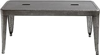 Creative Co-op DA7817 Grey & Brown Galvanized Metal Bench, Grey