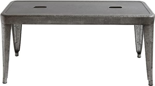 Creative Co Op DA7817 Grey Brown Galvanized Metal Bench Grey