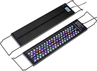 AMZBD Aquarium Light LED with Timer, Dimmable 7 Colors, Programmable, Waterproof, Full Spectrum Fish Tank Light with Extendable Brackets