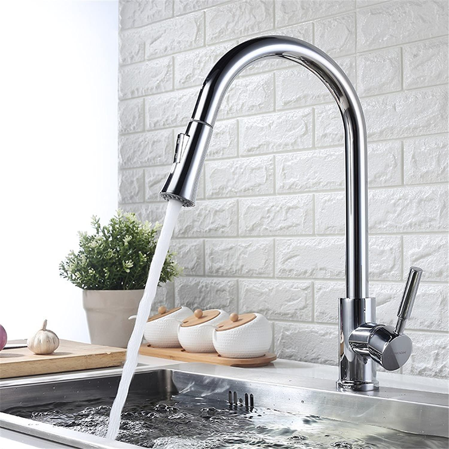 Decorry Cold Drawing The Whole Kitchen Faucet Mixer 304 Stainless Steel Vegetables Basin Faucet Copper redatable Ceramic Valve Core, F-BIS Paragraph Satin Water -Jomoow