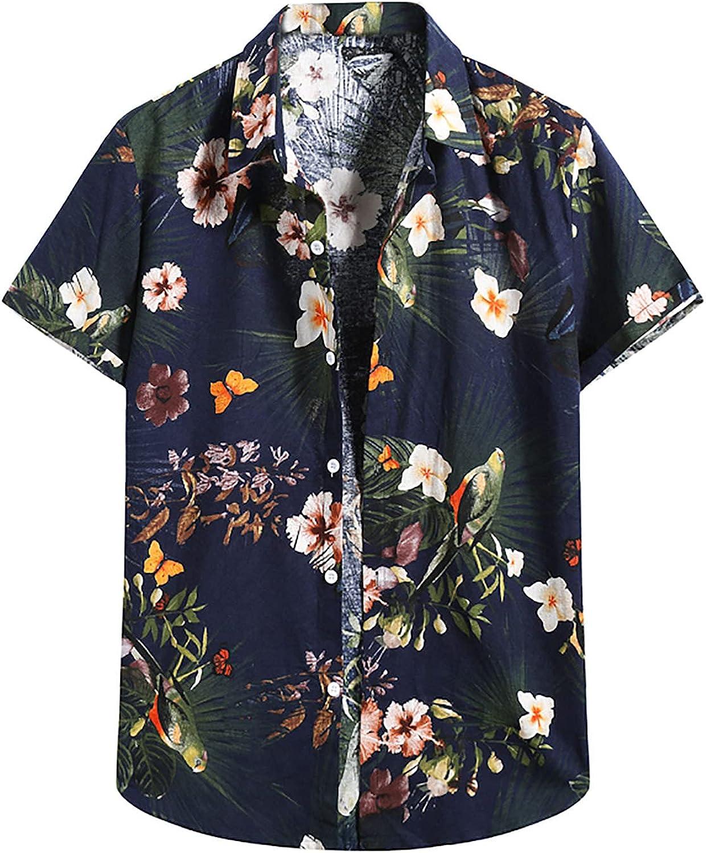 Men Hawaiin Print T-Shirt Henry Shirt Turn-Down Collar Vintage Short Sleeve Summer Casual Loose Retro Tee Blouse