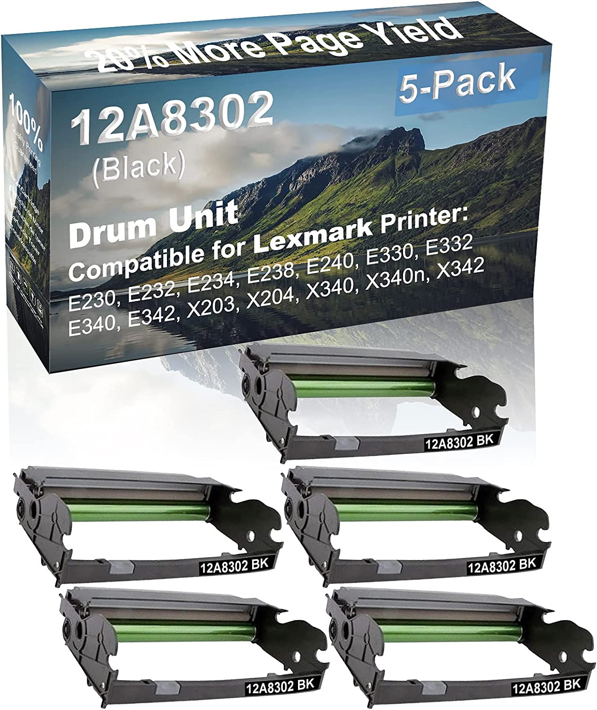 5-Pack Compatible Drum Unit (Black) Replacement for Lexmark 12A8302 X340H22G Drum Kit use for Lexmark X203, X204, X340, X340n, X342 Printer