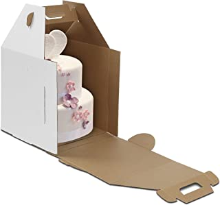 W PACKAGING WPTC1416WKE 14x14x16 White/Kraft Plain Tiered Cake Box, No Window, Lock Corner, E-Flute (Pack of 10)
